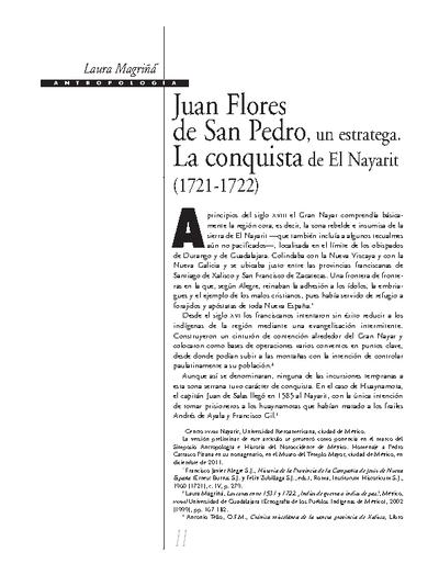 Juan Flores de San Pedro, un estratega. La conquista de El Nayarit (1721-1722)