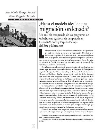 ¿Hacia el modelo ideal de una migración ordenada? Un análisis comparado de los programas de trabajadores agrícolas de temporada en Canadá-México y España-Europa del Este y Marruecos