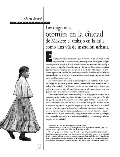 Las migrantes otomíes en la ciudad de México: el trabajo en la calle como una vía de inserción urbana