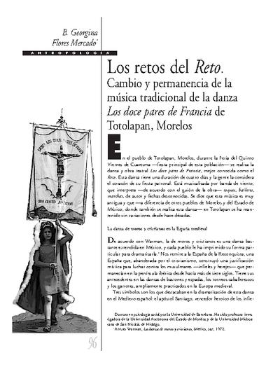 Los retos del Reto. Cambio y permanencia de la música tradicional de la danza Los doce pares de Francia de Totolapan, Morelos