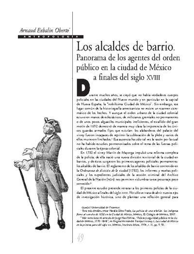 Los alcaldes de barrio. Panorama de los agentes del orden público en la ciudad de México a finales del siglo XVIII