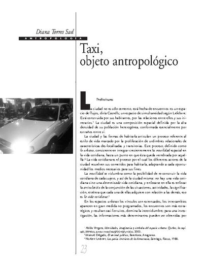 Taxi, objeto antropológico