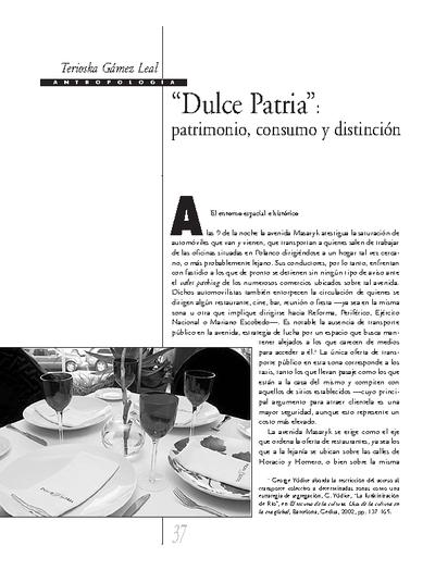 """""""Dulce Patria"""": patrimonio, consumo y distinción"""