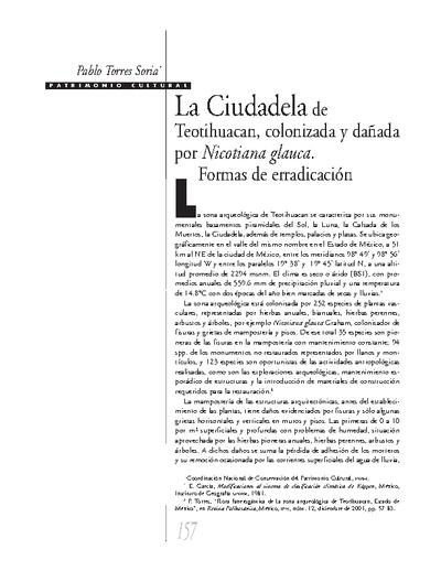 La Ciudadela de Teotihuacan, colonizada y dañada por Nicotiana glauca. Formas de erradicación