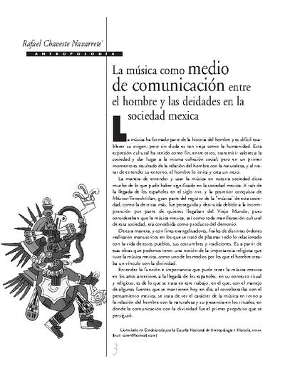 La música como medio de comunicación entre el hombre y las deidades en la sociedad mexicana