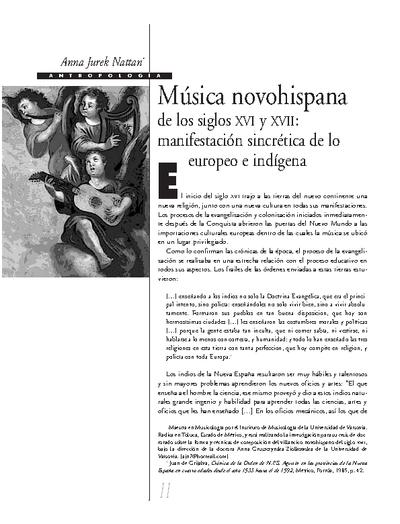 Música novohispana de lo siglos XVI y XVII: manifestación sincrética de lo europeo e indígena