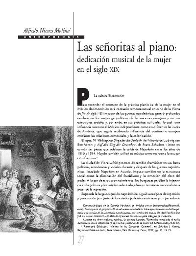 Las señoritas al piano: una dedicación musical de la mujer en el siglo XIX