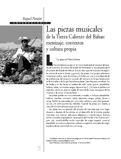 Las piezas musicales de la Tierra Caliente del Balsas: mestizaje, contextos y cultura propia