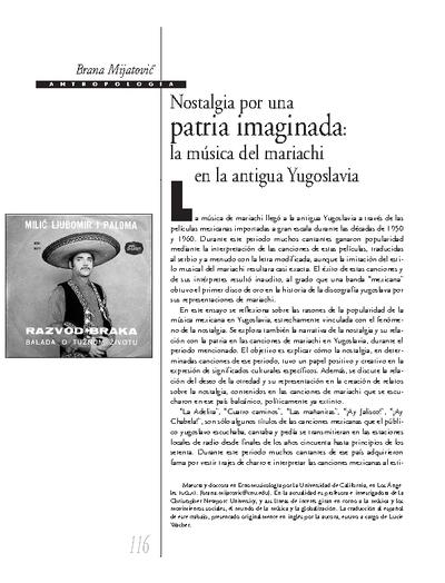 Nostalgia por una patria imaginada: la música del mariachi en la antigua Yugoslavia