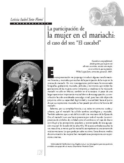 """La participación de la mujer en el mariachi: el caso del son """"El Cascabel"""""""