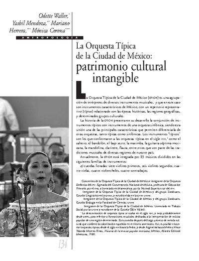 La Orquesta Típica de la Ciudad de México: patrimonio cultural intangible