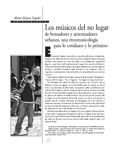 Los músicos del no lugar: de boteadores y amenizadores urbanos, una etnomusicología para lo cotidiano y lo próximo
