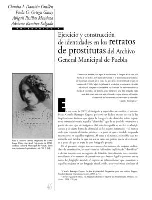 Ejercicio y construcción de identidades en los retratos de prostitutas del Archivo General Municipal de Puebla