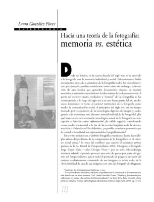 Hacia una teoría de la fotografía: memoria vs, estética