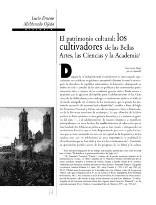 El patrimonio cultural: los cultivadores de las Bellas Artes, las Ciencias y la Academia