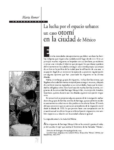 La lucha por el espacio urbano: un caso otomí en la ciudad de México