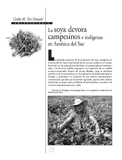 La soya devora campesinos e indígenas en América del Sur