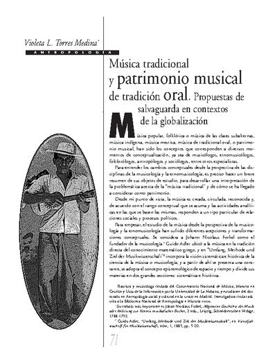 Música tradicional y patrimonio musical de tradición oral. Propuestas de salvaguarda en contextos de la globalización