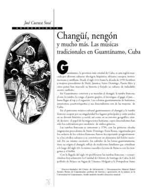 Changüí, nengón y mucho más. Las músicas tradicionales en Guantánamo, Cuba