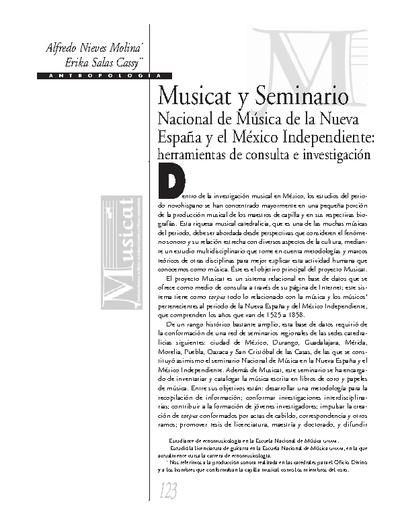 Musicat y Seminario Nacional de la Nueva España y el México Independiente: herramientas de consulta e investigación