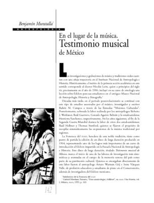 En el lugar de la música. Testimonio musical de México
