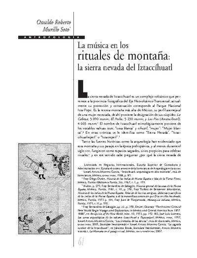 La música en los rituales de montaña: la sierra nevada de Iztaccíhuatl