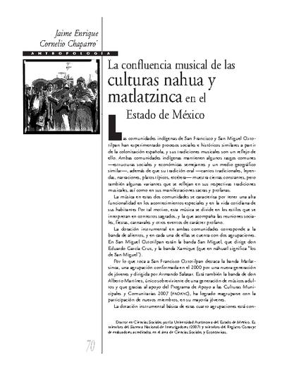La confluencia musical de las culturas nahua y matlatzinca en el Estado de México