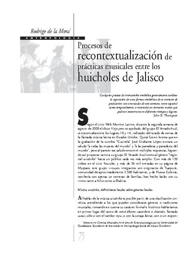 Procesos de recontextualización de prácticas musicales entre los huicholes de Jalisco