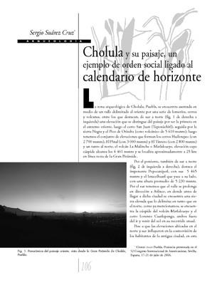 Cholula y su paisaje, un ejemplo de orden social ligado al calendario de horizonte