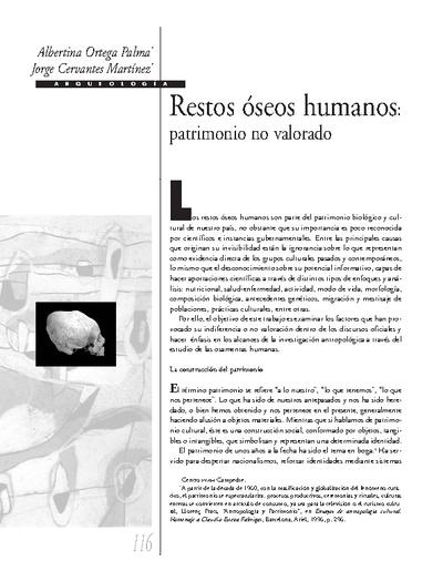 Restos óseos humanos: patrimonio no valorado