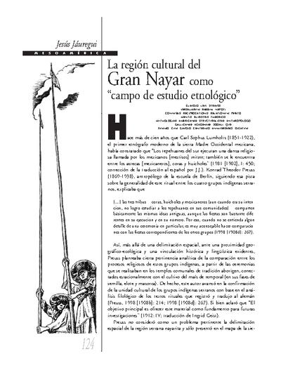 """La región cultural del Gran Nayar como """"campo de estudio etnológico"""""""