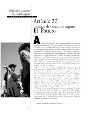 Artículo 27, mercado de tierras y el ingenio El Potrero