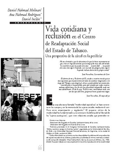 Vida cotidiana y reclusión en el Centro de Readaptación Social del Estado de Tabasco. Una perspectiva de la cárcel en la periferia