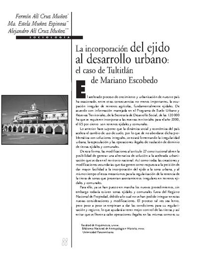 La incorporación del ejido al desarrollo urbano: el caso de Tultitlán de Mariano Escobedo