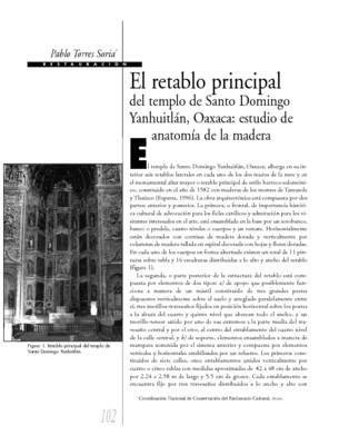 El retablo principal del templo de Santo Domingo Yanhuitlán, Oaxaca: estudio de anatomía de la madera