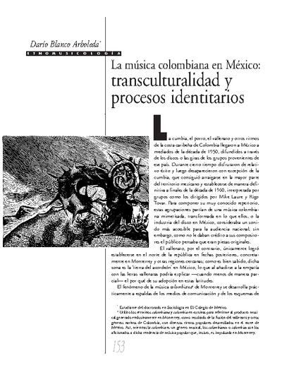 La música colombiana en México: transculturalidad y procesos identitarios