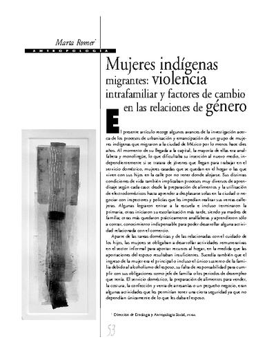 Mujeres indígenas migrantes: violencia intrafamiliar y factores de cambio en las relaciones de género