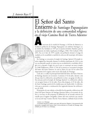 El Señor del Santo Entierro de Santiago Papasquiaro y la definición de una comunidad religiosa en el viejo Camino Real de Tierra adentro