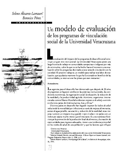 Un modelo de evaluación de los programas de vinculación social de la Universidad Veracruzana