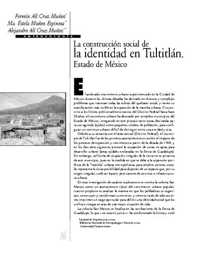 La construcción social de la identidad en Tultitlan, Estado de México