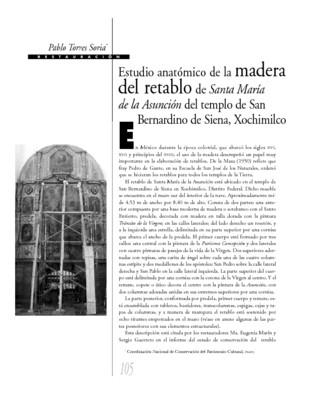 Estudio anatómico de la madera del retablo de Santa María de la Asunción del templo de San Bernardino de Siena, Xochimilco