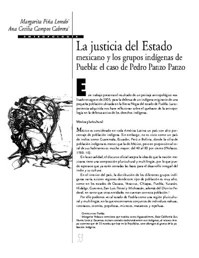 La justicia del Estado mexicano y los grupos indígenas de Puebla: el caso de Pedro Panzo Panzo