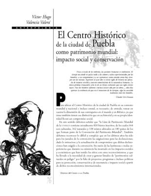 El Centro Histórico de la ciudad de Puebla como patrimonio mundial: impacto social y conservación
