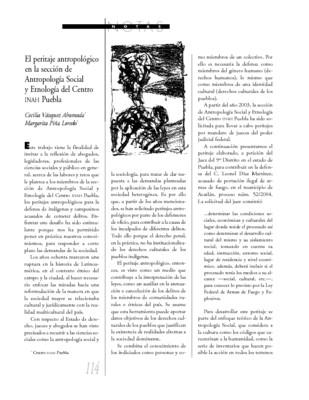 El peritaje antropológico en la sección de Antropología Social y Etnología del Centro INAH Puebla