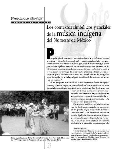 Los contextos simbólicos y sociales de la música indígena del Noroeste de México