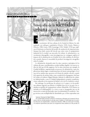 Entre la tradición y el anonimato. Etnografía de la identidad urbana en un barrio de la colonia Roma