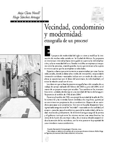 Vecindad, condominio y modernidad: etnografía de un proceso