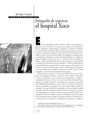 Etnografía de urgencia: el hospital de Xoco