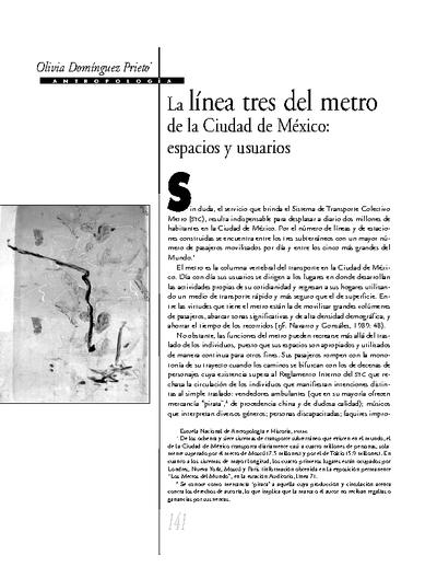 La línea tres del metro de la Ciudad de México: espacios y usuarios