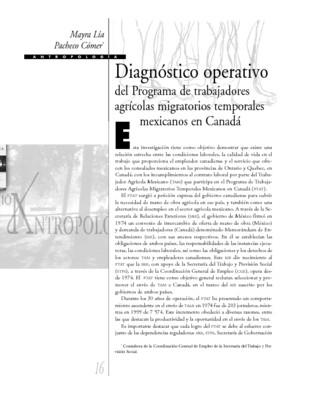 Diagnóstico operativo del Programa de trabajadores agrícolas migratorios temporales mexicanos en Canadá